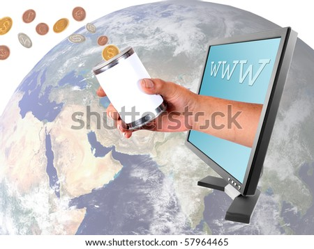Conceptual image of donating money to the world in different currencies through the internet - stock photo