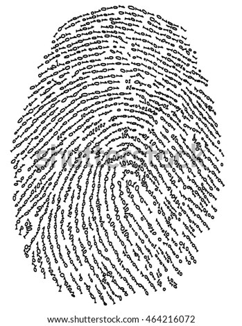 conceptual image of finger print with binary code of one and zero