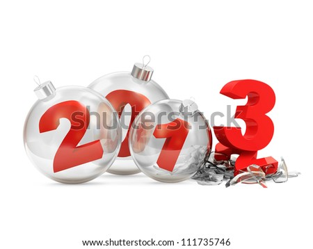 Conceptual image of Glass Christmas Balls 2013 isolated on white background - stock photo