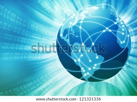 Conceptual image of global internet connection with lines connecting places all over the world - stock photo