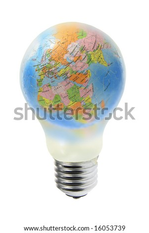 Conceptual image of globe in tungsten light bulb on white background