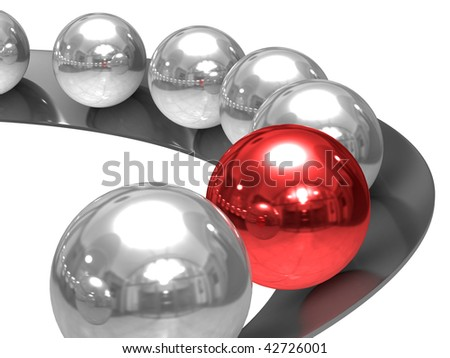 Conceptual image of leadership. Isolated 3D image. - stock photo