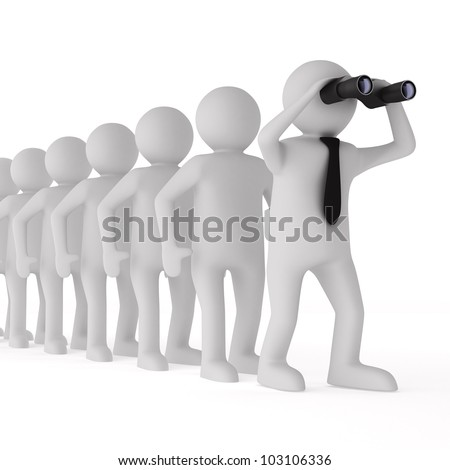 Conceptual image of leadership. Isolated 3D on white - stock photo