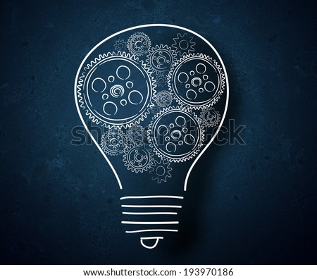 Conceptual image of light bulb and business strategy sketch - stock photo