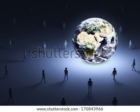 Conceptual Image of People walking into the lighten Earth Globe. (Elements of this image furnished by NASA) - stock photo