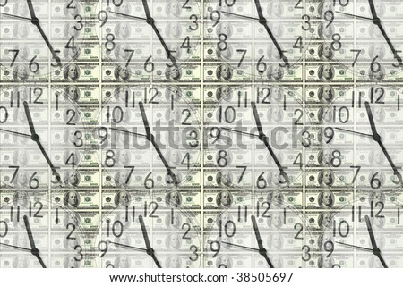 conceptual image of several clocks on dollar bill background