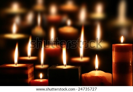 conceptual image of several perfect candlelight in black
