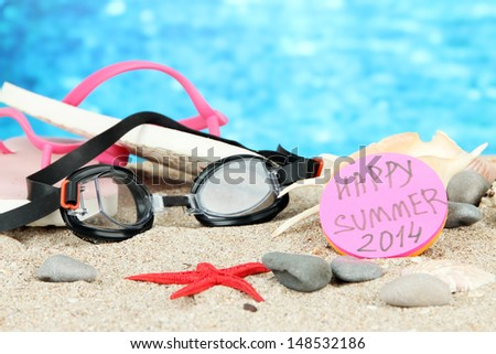 Conceptual image of summer holidays. On sea background