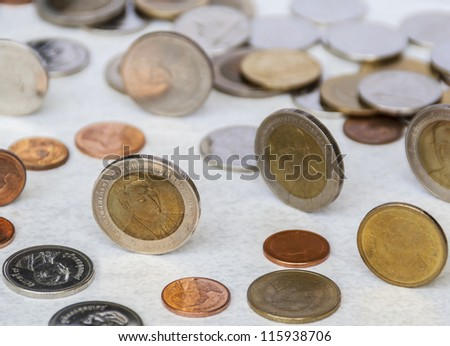 Conceptual image of Thai currency coins - stock photo