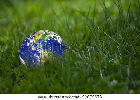 Conceptual image of the earth laying in the tall green grass.  Shallow depth of field.  Earth image courtesy of NASA. - stock photo