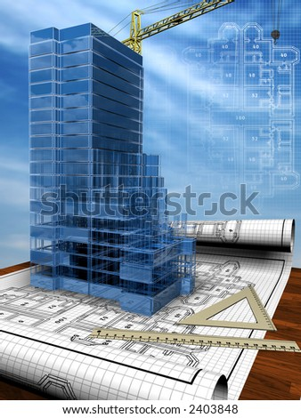 Conceptual image of the house blueprint - stock photo