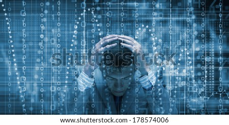 Conceptual image of troubled man against media screen with binary code - stock photo