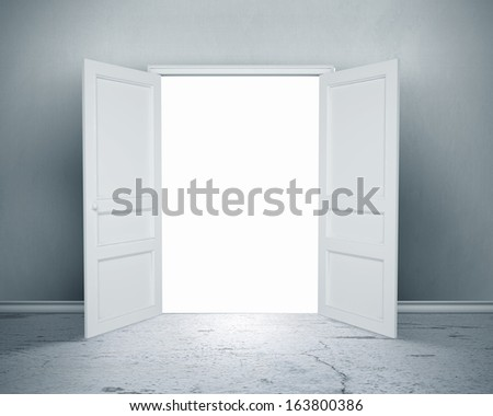 Conceptual image of white opened door. Perspective - stock photo
