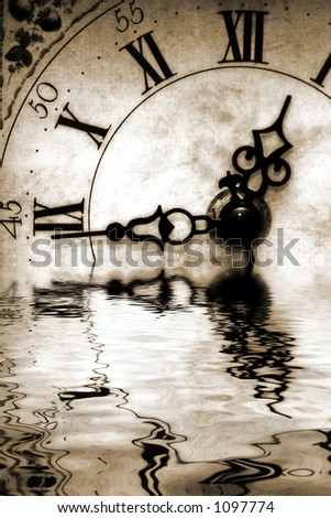 Conceptual image old antique looking clock with reflection in water suggesting reflecting back or nostalgic thoughts - stock photo