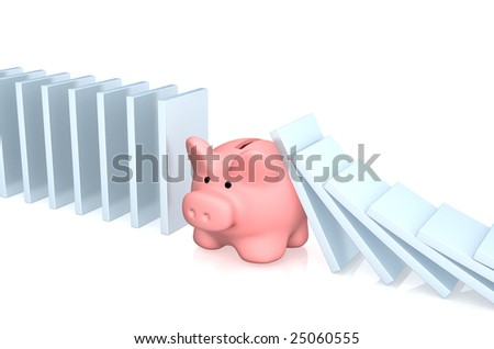 Conceptual image - stability in crisis - stock photo