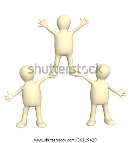 Conceptual image - success of teamwork - stock photo