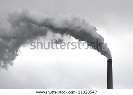 Conceptual image with industrial plant with working chimney suitable for a variety of environmental conservation, pollution, industrial designs