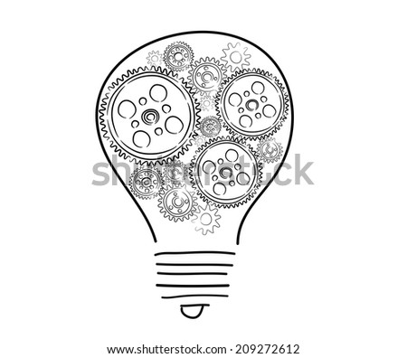 Conceptual image with light bulb and cogwheels - stock photo