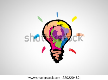 Conceptual image with light bulb drawn in colors - stock photo