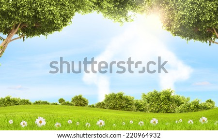 Conceptual image with nature landscape and figure of house