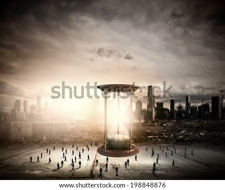 Conceptual image with sandglass and silhouettes of business people around - stock photo