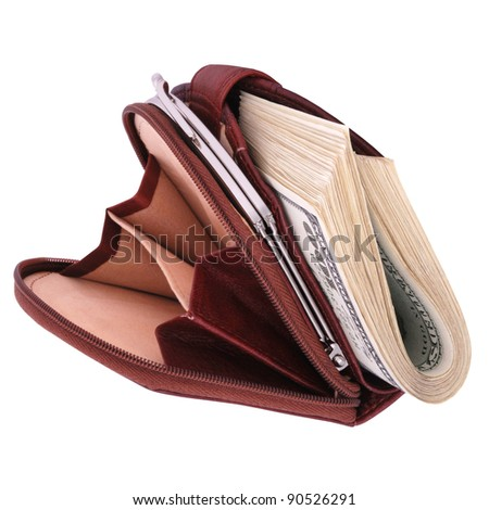 Conceptual image with stuffed leather wallet isolated on a white background. - stock photo