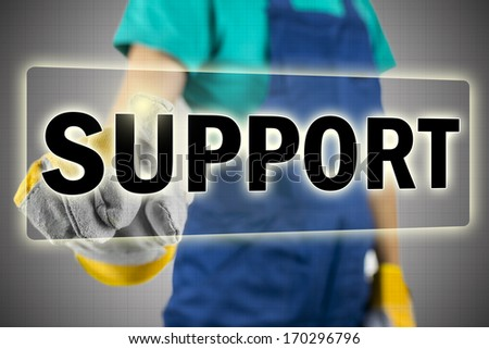 Conceptual image with the word Support in a navigation bar on a virtual interface with a person reaching out behind the screen to activate the button depicting online help and assistance - stock photo
