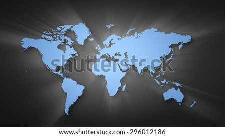 Conceptual image with world map on concrete wall