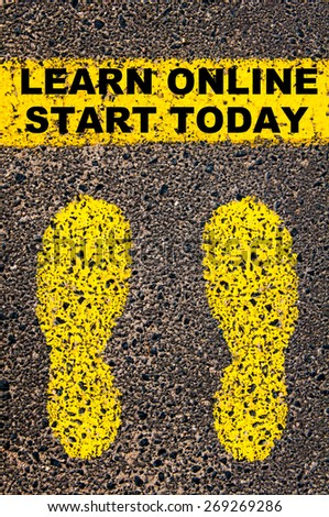 Conceptual image with yellow paint footsteps on the road in front of horizontal line over asphalt stone background. Message Learn Online Start Today. - stock photo