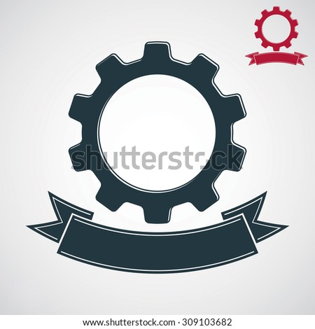 Conceptual industry system design element, cog wheel, gear with decorative curvy ribbon. Best engineering project award conceptual symbol. - stock photo