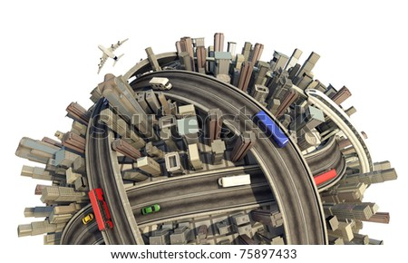 conceptual miniature urban planet close up showing a congested city modern lifestyle and transport, isolated and with clipping path - stock photo