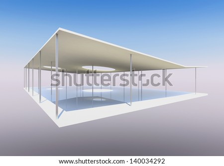 Conceptual modern building with column