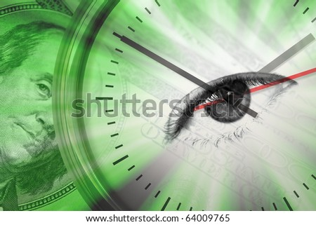 Conceptual montage themed around money with a clock and an eye in the center of the dial. - stock photo