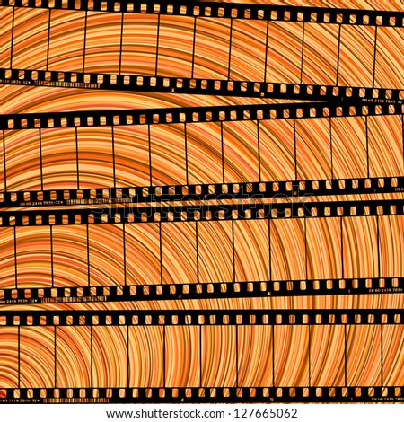 Conceptual movie background with film reel cuts, abstract art . Raster version. - stock photo