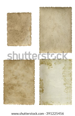 Conceptual old vintage dirty grungy paper background set or collection isolated on white background ideal for antique, grunge, texture, retro, aged, ancient, dirty, frame, manuscript material designs