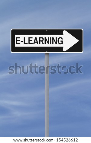 Conceptual one way road sign on e-learning