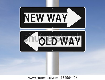 Conceptual one way road signs on change or choices