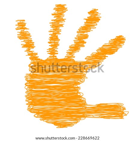 Conceptual orange painted drawing hand shape print isolated on white paper background, for handmade or manual, art, line, children, scribble, education, grungy or sketch design, made by a child - stock photo
