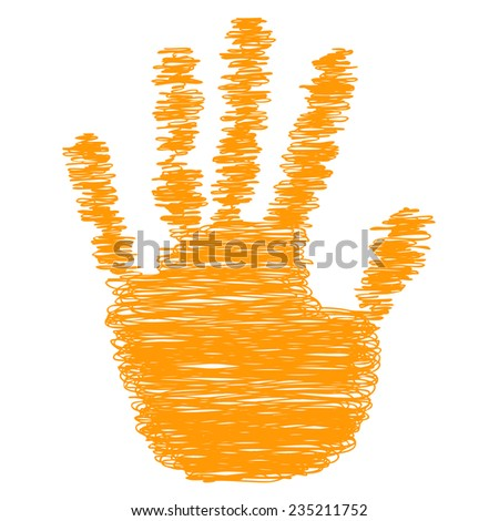 Conceptual orange painted drawing hand shape print isolated white paper background for handmade or manual, art, line, children, scribble, education, grungy or sketch design made by a child - stock photo