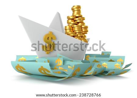 Conceptual paper boat floating in the dollar currency and carries a large pile of coins isolated on a white background - stock photo