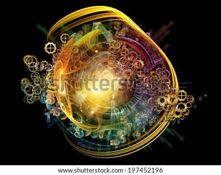 Conceptual Particle series. Design composed of fractal and conceptual elements as a metaphor on the subject of science, information technology and design - stock photo