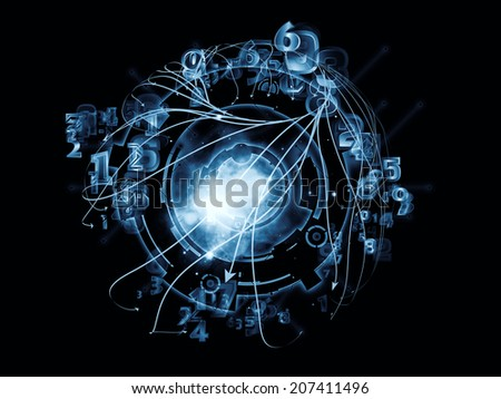 Conceptual Particle series. Interplay of fractal and conceptual elements on the subject of science, information technology and design - stock photo