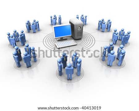 Conceptual people icons in a virtual network - 3d render - stock photo