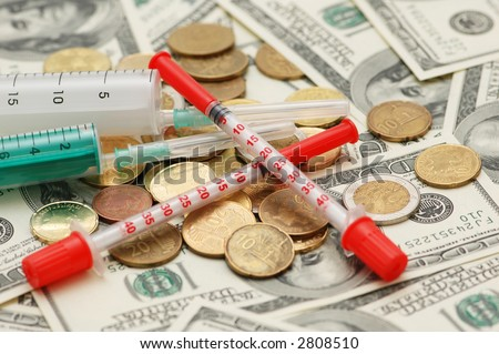 Conceptual photo  illustrating expensive drugs and medicines