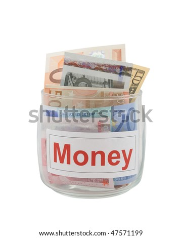 Conceptual photo of a money. Euro and dollar banknotes in a glass jar isolated over white. - stock photo