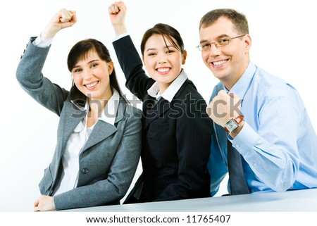Conceptual photo of business team holding their fists up meaning power of work in a union - stock photo