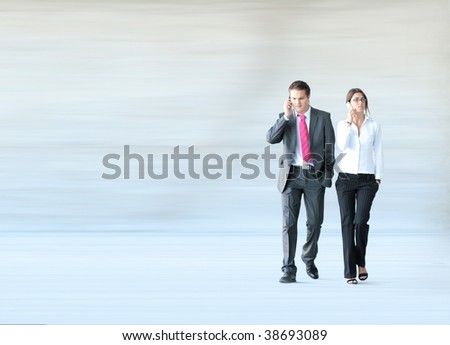 Conceptual photo of businessman and businesswoman - stock photo