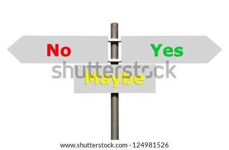 conceptual picture of a signpost with no, maybe and yes isolated on white background (all signs cleaned on grey)