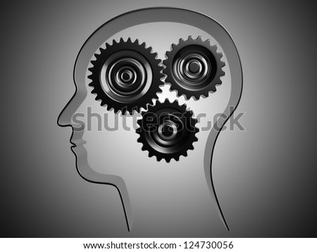 Conceptual picture of working brain represented by cogs working together. - stock photo