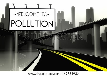 Conceptual pollution in big city, view from road - stock photo